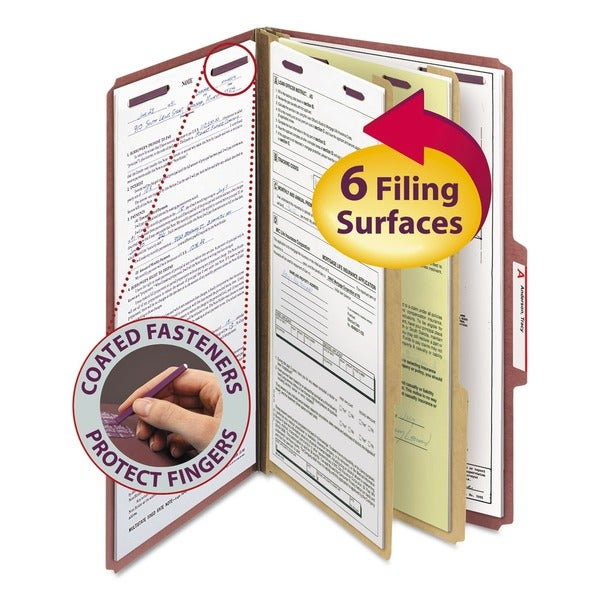 Smead Red Six-Section Legal Pressboard Classification Folders (10/Box)
