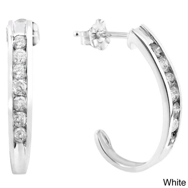 Auriya 14k Gold 1/2ct TDW Diamond J Hoop Earrings