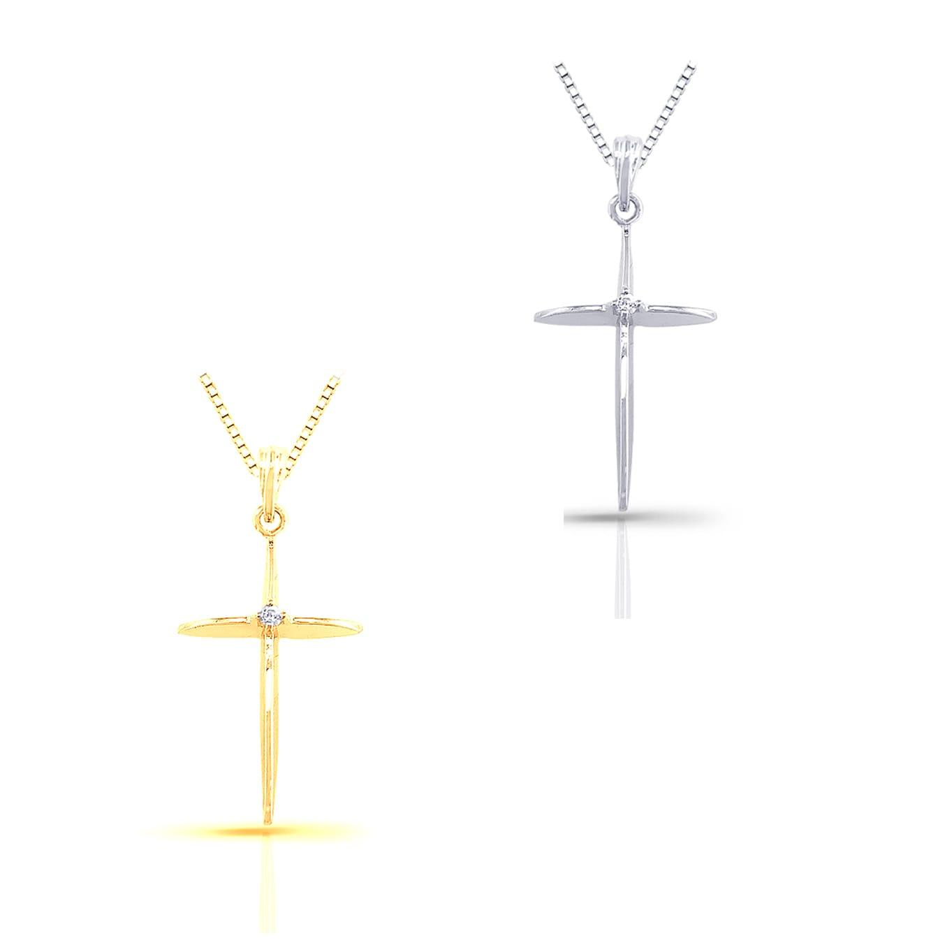 Auriya 10k Gold Diamond Accent High-Polish Cross Necklace