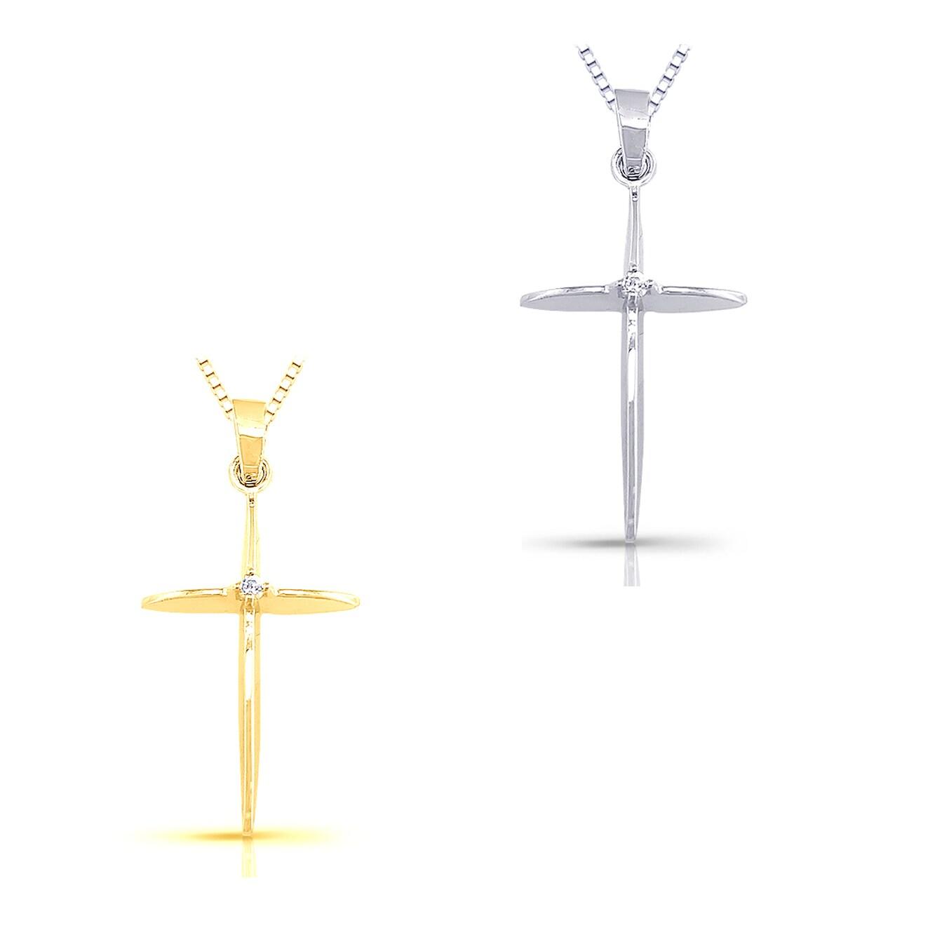 Auriya 10k Gold Diamond Cross Necklace (I-J, I2-I3)