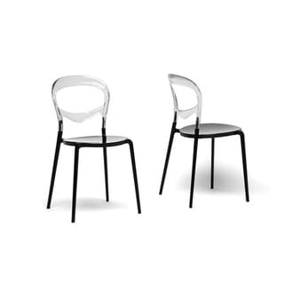 Orlie Black and Clear Modern Dining Chairs (Set of 2)