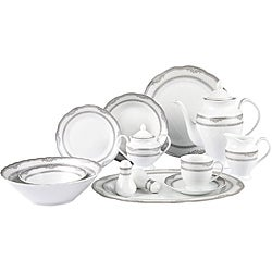 Lorenzo Victoria Porcelain 57pc Dinnerware Set (Silver Border)