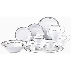Lorenzo Elizabeth Porcelain 57 pc Dinnerware Set (Silver Boarder)