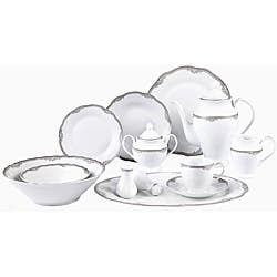 Lorenzo Elizabeth Porcelain 57 pc Dinnerware Set (Silver Boarder)|https://ak1.ostkcdn.com/images/products/6325840/Lorenzo-Elizabeth-Porcelain-57-pc-Dinnerware-Set-Silver-Boarder-P13951064.jpg?impolicy=medium