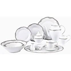 Lorenzo Elizabeth Porcelain 57 pc Dinnerware Set (Silver Boarder)  sc 1 st  Overstock.com & Oval Dinnerware For Less   Overstock.com
