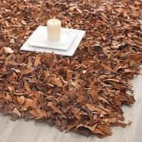 "Safavieh Handmade Metro Modern Brown Medley Leather Decorative Shag Rug (2'3 x 6') - 2'3"" x 6'"
