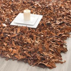 Safavieh Handmade Metro Modern Brown Medley Leather Decorative Shag Rug (2'3 x 6')