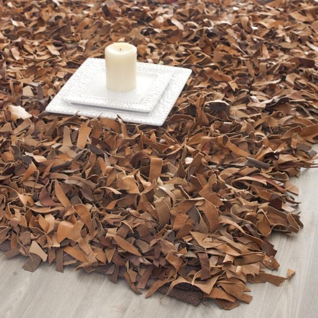 Safavieh Handmade Metro Modern Brown Medley Leather Decorative Shag Rug (2'3 x 4')