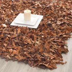 Safavieh Handmade Metro Modern Brown Medley Leather Decorative Shag Rug (2'3 x 4')
