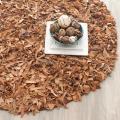 Safavieh Handmade Metro Modern Light Gold Leather Decorative Shag Rug (4' Round) - 4'