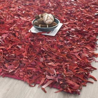 Safavieh Handmade Metro Modern Red Leather Decorative Shag Rug (5' x 8')