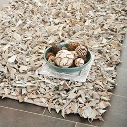 Safavieh Handmade White Leather Metro Shag (2'3 x 9')