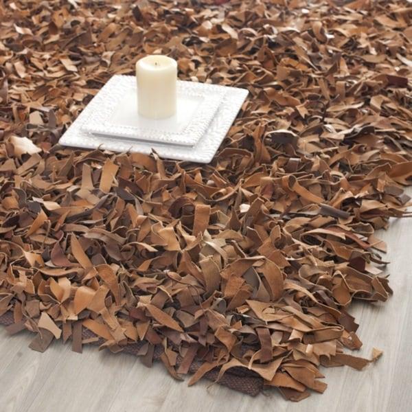 Safavieh Handmade Metro Modern Brown Medley Leather Decorative Shag (8' x 10')