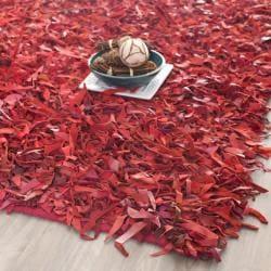 Safavieh Handmade Metro Modern Red Leather Decorative Shag Rug - 8' x 10' - Thumbnail 0