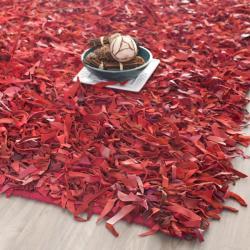 Safavieh Handmade Metro Modern Red Leather Decorative Shag Rug (8' x 10') - 8' x 10'