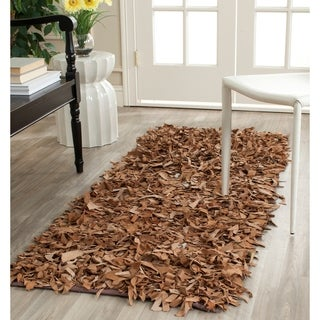Safavieh Handmade Metro Modern Brown Medley Leather Decorative Shag Rug (2'3 x 9')