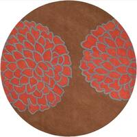 Hand-tufted Contemporary Brown/Red Floral Altamura New Zealand Wool Abstract Area Rug - 8' Round