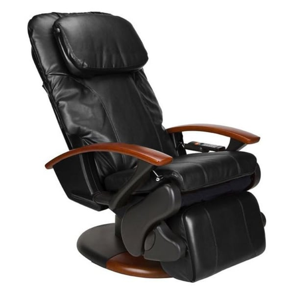 Black Human Touch Stretching Massage Chair with Extendable Footrest (Refurbished)