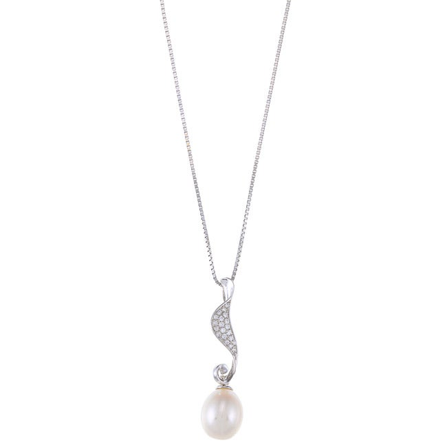 Kabella Sterling Silver Drop FW Pearl with Cubic Zirconia...