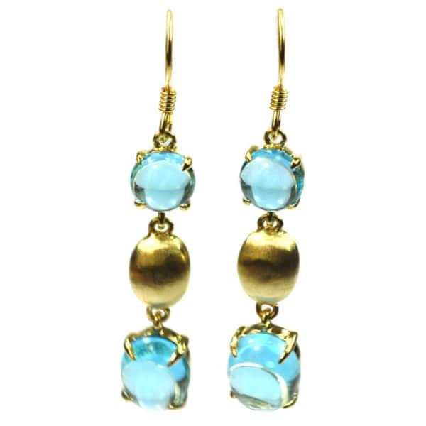 De Buman Sterling Silver Swiss Blue Topaz Earrings
