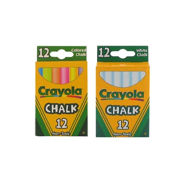 Binney & Smith Crayola Non-Toxic White Chalk and Colored Chalk Kit (2 Boxes)