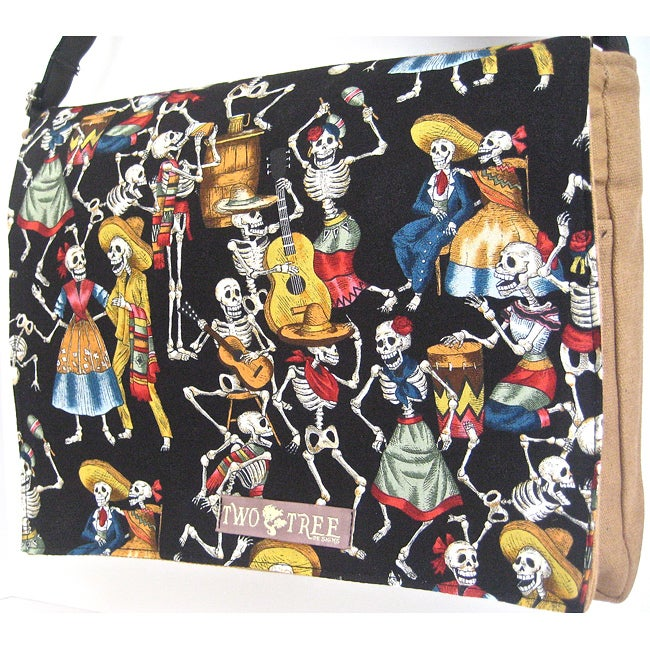 Handmade Medium Tan Dancing Skeletons Messenger Bag
