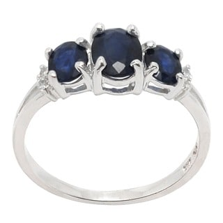 De Buman Sterling Silver Triple-sapphire and White Topaz Ring