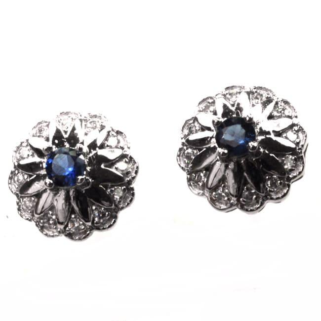 De Buman Sterling Silver Sapphire and Zircon Earrings