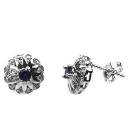 De Buman Sterling Silver Sapphire and Zircon Earrings - Thumbnail 1
