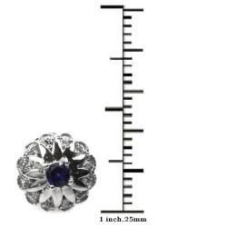 De Buman Sterling Silver Sapphire and Zircon Earrings - Thumbnail 2