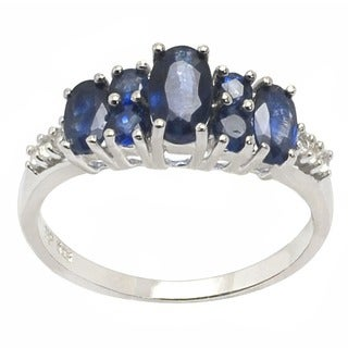 De Buman Sterling Silver Sapphire Ring (Size 7.25)
