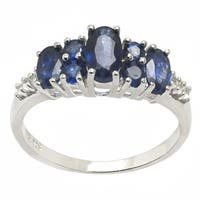 De Buman Sterling Silver Sapphire Ring (Size 7.25)