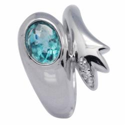 De Buman Sterling Silver Bezel-set Apatite and White Topaz Accent Ring