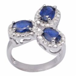 De Buman Sterling Silver Blue Sapphire Ring
