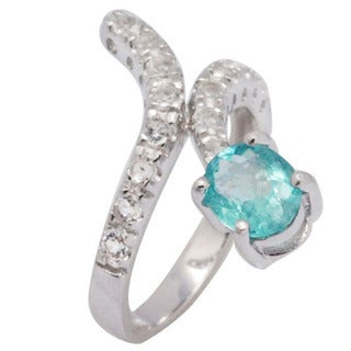 De Buman Sterling Silver Green Apatite and White Topaz Bypass-style Ring