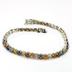 De Buman 18k Yellow Gold and Silver Sapphire Bracelet
