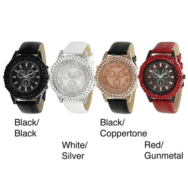 Geneva Platinum Women's Rhinestone Decorative Japanese Quartz Chronograph Watch