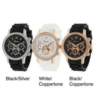 Geneva Platinum Women's Rhinestone Decorative Chronograph Watch