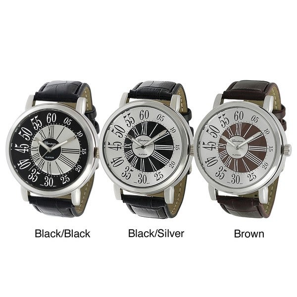 Geneva Platinum Men's Roman Numeral Faux Leather Strap Watch