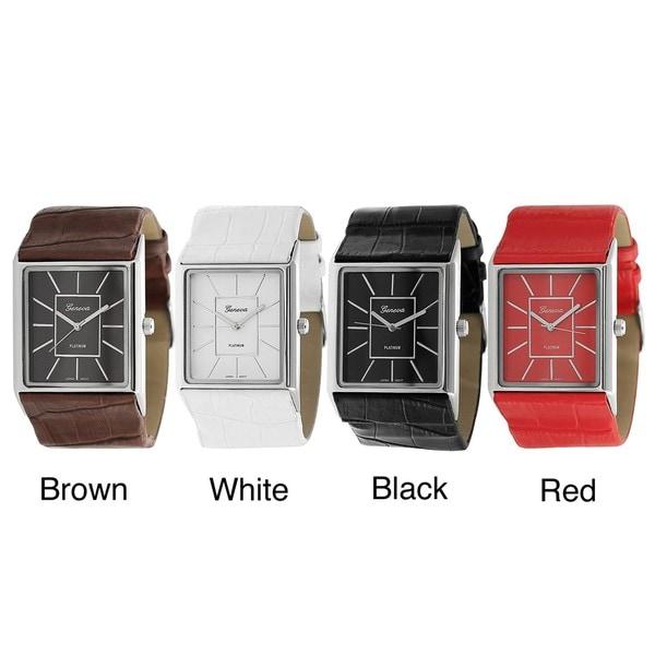 Geneva Platinum Women's Rectangular Face Faux Leather Strap Watch