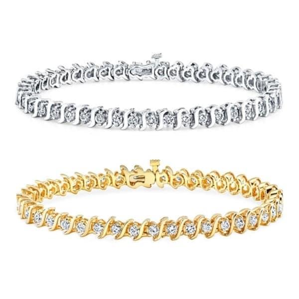 Auriya 14k Gold 1 Carat Tdw Round S Link Diamond Tennis Bracelet