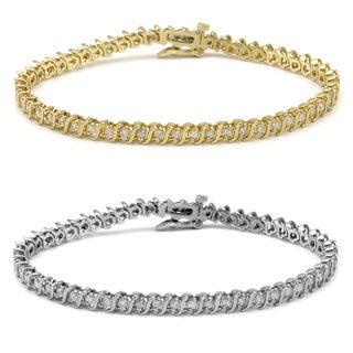Auriya 14k Gold 2ct TDW Round S-Link Diamond Tennis Bracelet