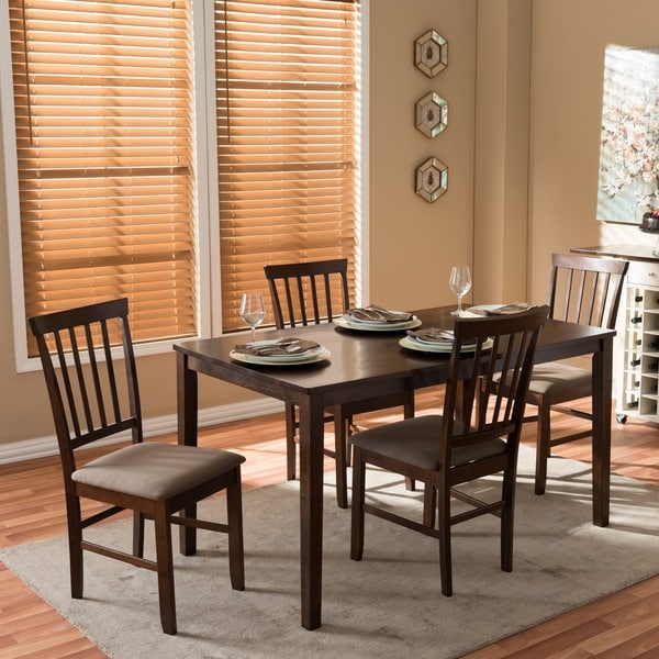 Baxton Studio Tiffany Dark Brown Wood 5-piece Dining Set