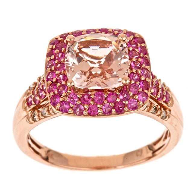 Anika and August 14k Rose Gold Morganite, Pink Sapphire and 1/10ct TDW Diamond Ring (G-H, I1-I2)