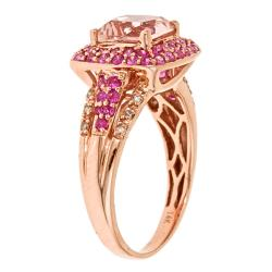Anika and August 14k Rose Gold Morganite, Pink Sapphire and 1/10ct TDW Diamond Ring (G-H, I1-I2) - Thumbnail 1