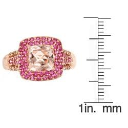 Anika and August 14k Rose Gold Morganite, Pink Sapphire and 1/10ct TDW Diamond Ring (G-H, I1-I2) - Thumbnail 2