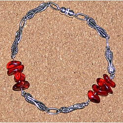 Susen Foster Men's Silvertone Red Amber 'Ruby Tuesday' Bracelet