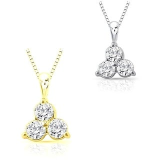 Auriya 14k Gold 1/4ct TDW Three-Stone Diamond Necklace