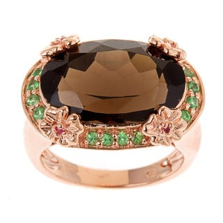 D'Yach 18k Rose Gold and Silver Smoky Quartz, Tsavorite and Pink Sapphire Ring