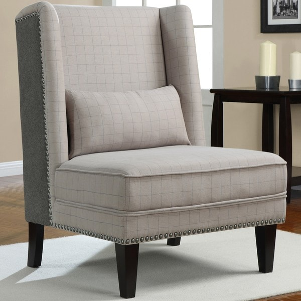 Shop Gentleman S Grey Check Wing Chair Free Shipping